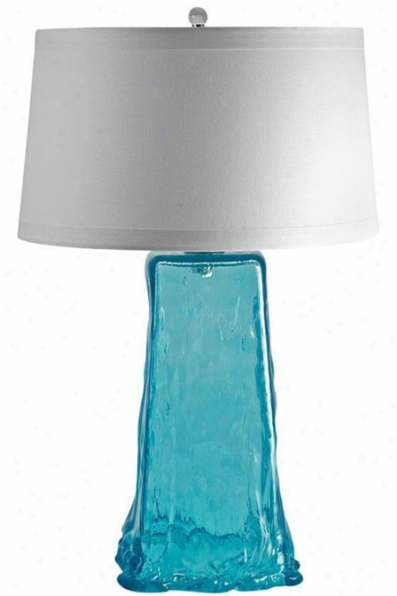 """wave Table Lamp - 30""""hx19""""w, Aqua Blue"""