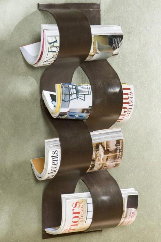 """wave Wall-mount Magazine Rack - 9""""wx30""""h, Bronze"""