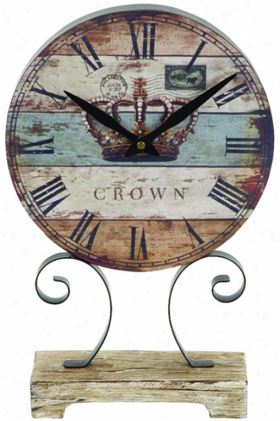 """weathered Crown Clock - 16""""h X 10""""w, Blue"""