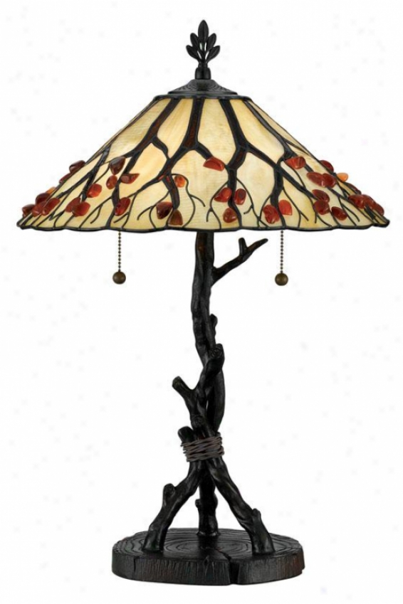"""whispering Wood Tiffzny-style Table Lamp - 25""""h, Brown Bronze"""