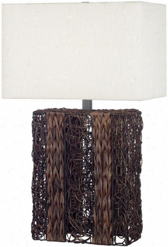 """whistle Table Lamp - 29""""h, Dark Wicker"""