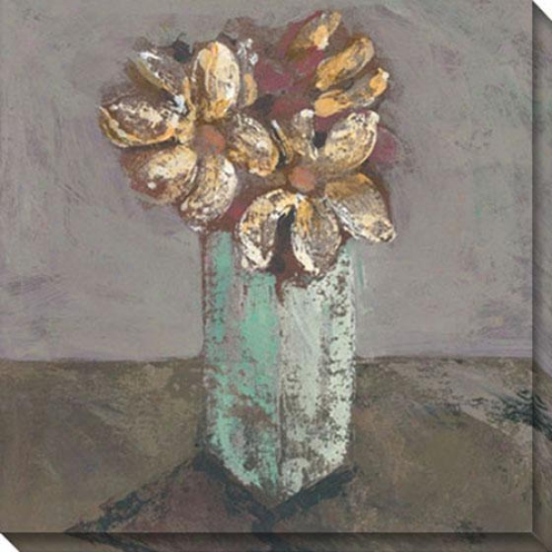 """white Blossoms Canvas Wall Art - 40""""hx40""""w, Gray"""