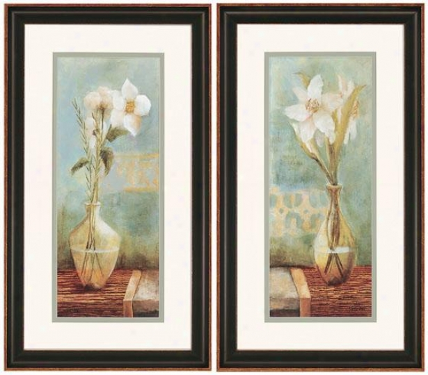 """white Flowers Wall Art - Set Of 2 - 28""""hx16""""w, Blue"""
