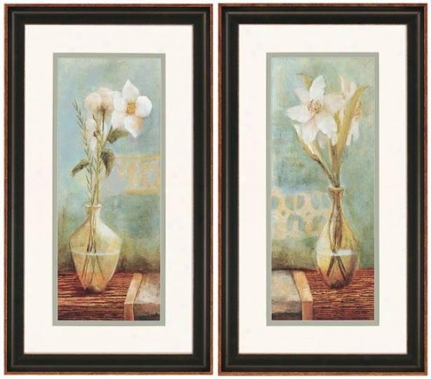 """""""white Flowers Wall Art - Set Of 2 - 28""""""""hx16""""""""w, Blue"""""""
