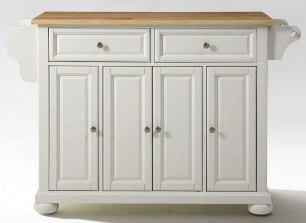 """white Kitchen Cart - 36""""hx52""""wx18""""d, Natural Wood"""