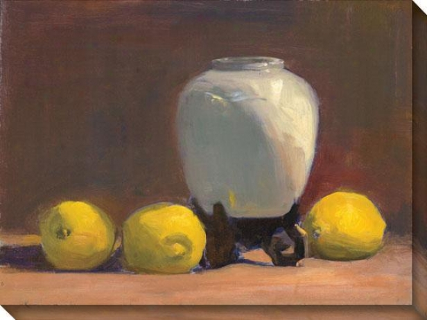 """white Vase With Lemons Canvas Wall Art - 36""""hx48""""w, Brown"""