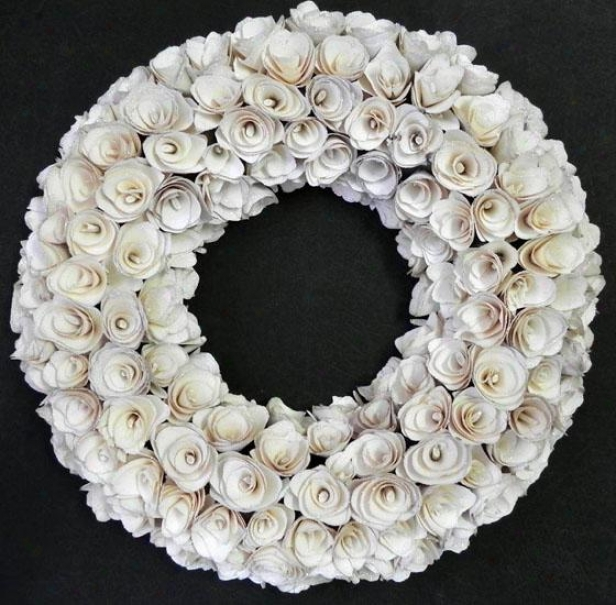 """white Wood Rose Glitter Wreath - 16"""", White"""