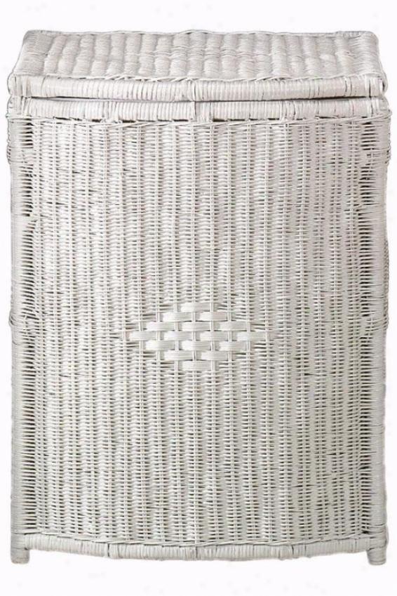 """""""wicker Diamond-weave Rectangular Clothes Laundry Hamper - Mean - 27""""""""hx21""""""""w, White"""""""