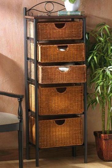 """wicker Five-drawer Storage Unit - 52""""hx18""""wx13""""d, Black"""