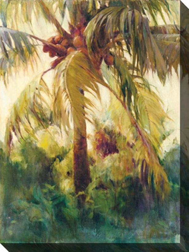"""wild Coconut Ii Canvas Wall Art - 48""""hx34""""w, Tan/green"""