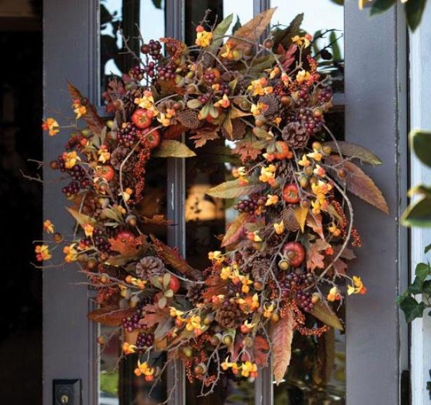 """wild Persimmon & Bittersweet Wreath - Wreath 28""""d, Burgandy"""