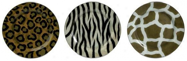Wild Side Plates - Set Of 3 - Set Of 3, Brown