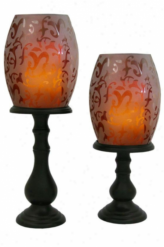 Willmington Flameless Hurricane Candle Set - Set Of Two, Crimson Red