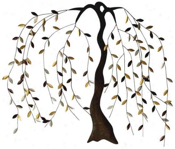 """willow Metal Wall Art - 43""""hx35""""w, Bronze"""