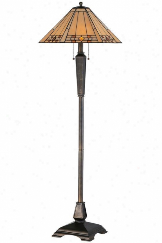 """willow Stained Aet Glass Window Panel Portables Floor Lamp - 59""""h, Bronze"""