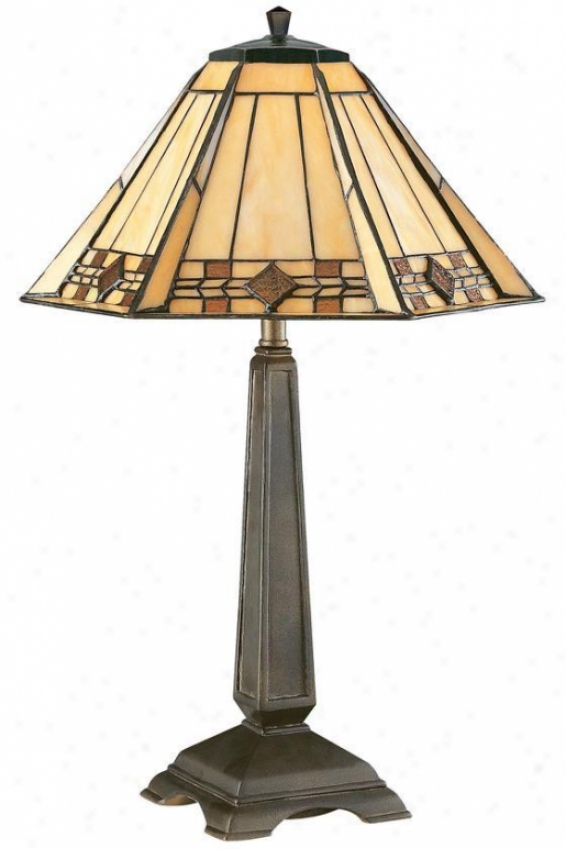 """willow Stained Practical knowledge Glasx Window Panel Portables Accent Lamp - 20""""h, Bronze"""