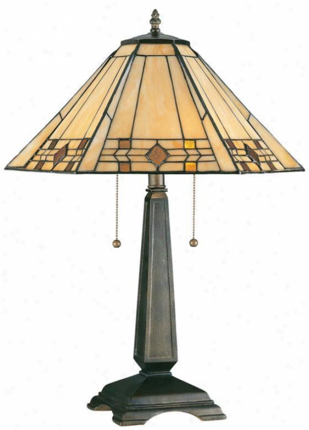 """""""willow Stained Art Glass Window Panel Portables Table Lamp - 24""""""""h, Bronze"""""""