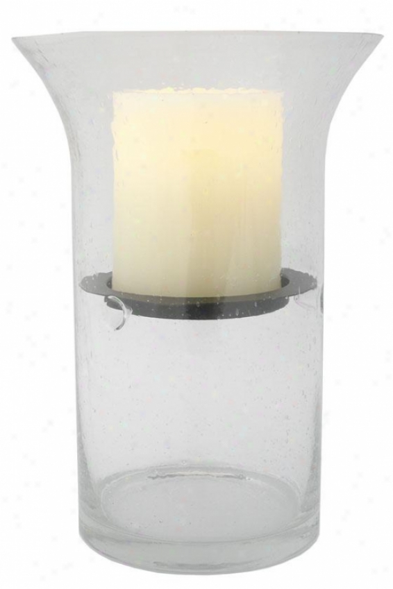"""wilshire Fillable Hurricane Candle - 12.5h X 6""""wx6""""""d, Clear Bubbled"""