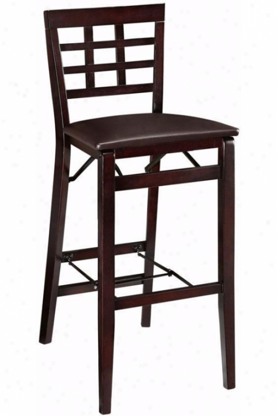 Window Pane Foldable Bar Stool-  Bar Elevation, Brown