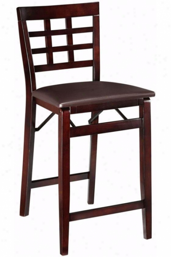Window Pane Foldable Counter Stool - Counter Height, Brown