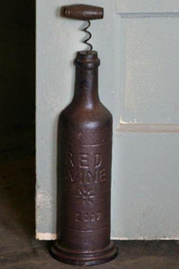 """wine Bottle Doorstop - 15.5""""hx4""""w, Bronze"""