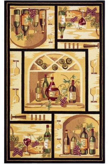 Wine Cellar Area Rug - 4' Round, Gold