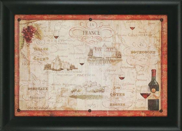 """wine Map Wall Art - 30""""hx42""""wx2""""d, Red"""