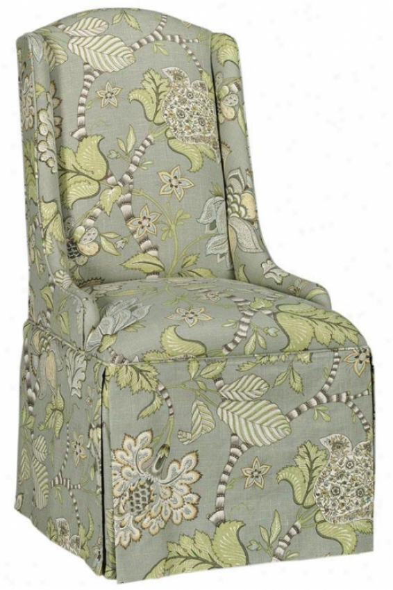 Wing-back Parsons Chair With Skirt - Camel Back, Clarice Dove