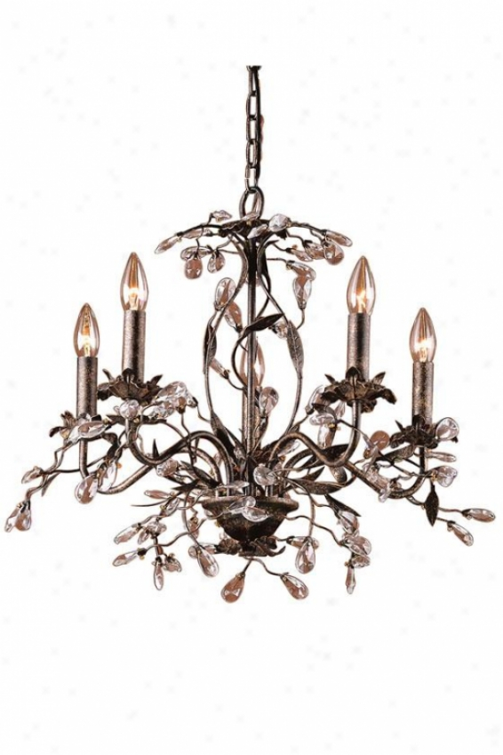 """winter Garden 17""""h Chandelier - 5-light/a, Deep Rust"""