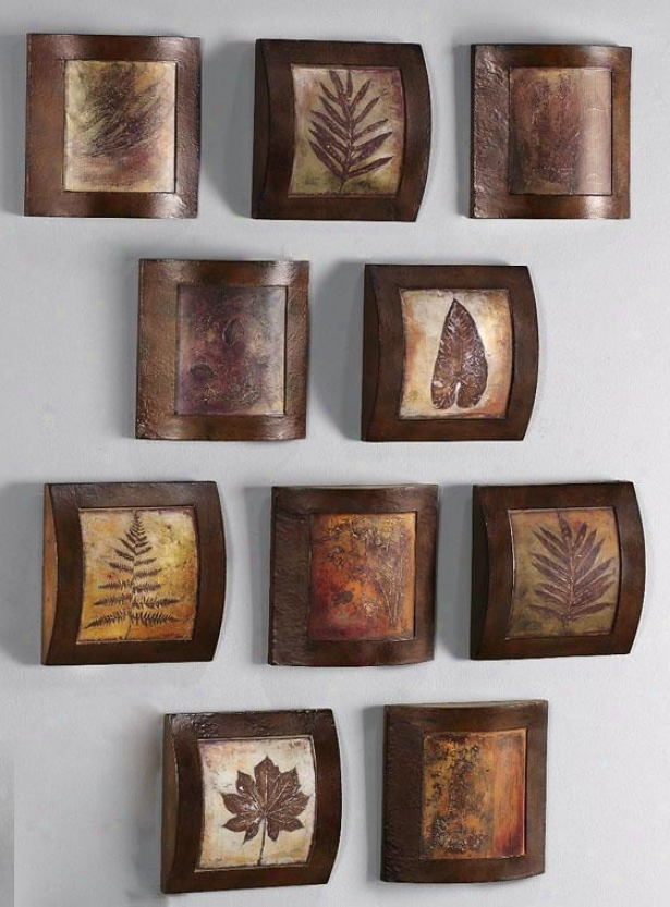 """wooden Fossil Collage Wall Art - 10"" Square, Multi"""