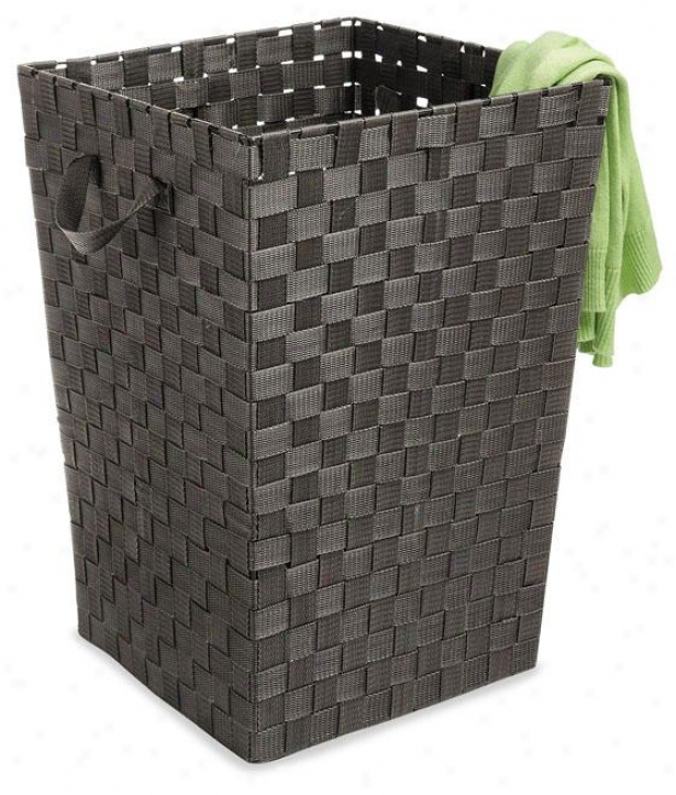 """wovsn Strap Clothes Laundry Crate - 20""""hx15""""square, Coffee Brown"""