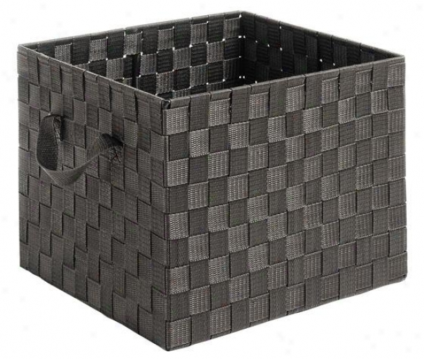 """woven Strap Crate - 10""""hx13""""wx12""""d, Coffee Brown"""