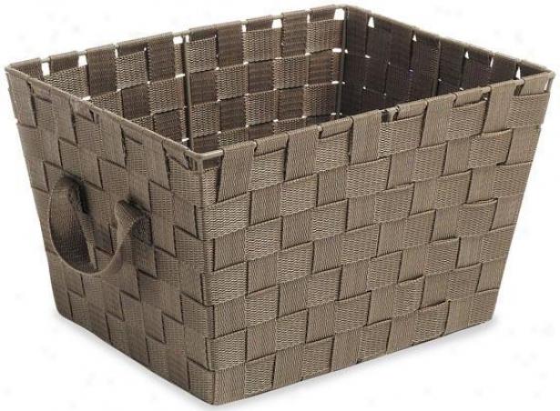 Woven Strap Storage Tote - Small, Coffee