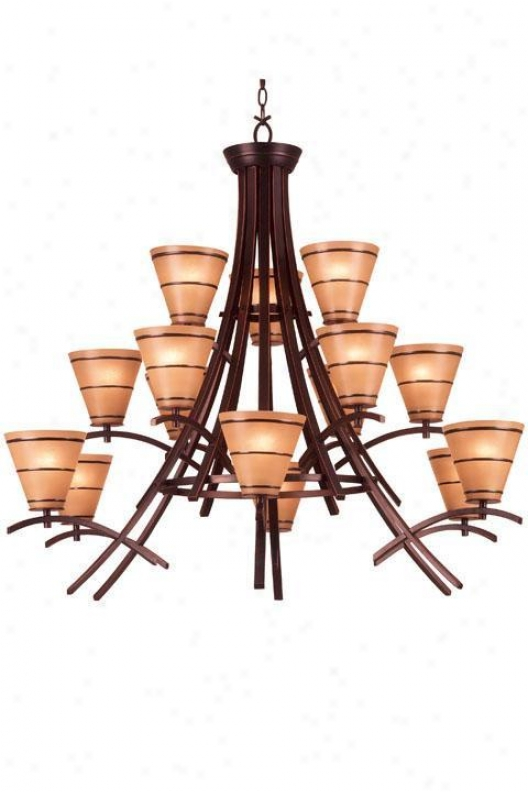 Wright 15-light Chandelier - Amber Scavo, Bronze