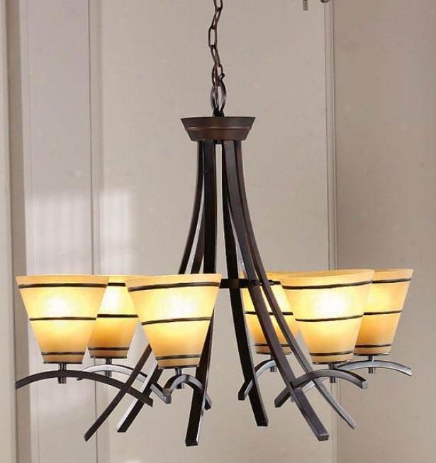 """wright 6-light Chande1ier - 24""""hx27.5""""d, Copper Bronze"""