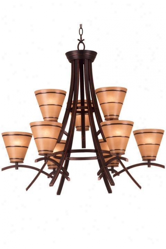 Wright Nine-light Chandelier - Amber Scavo, Bronze