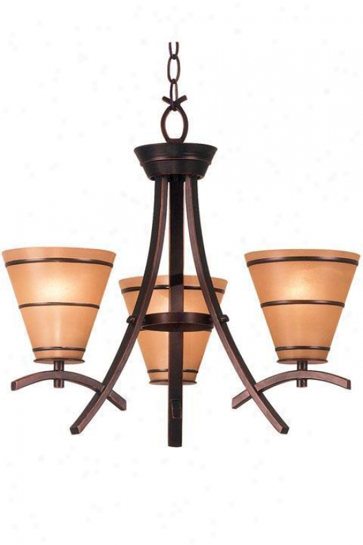 Wright Three-light Chandelier - Amber Sxaavo, Bronze