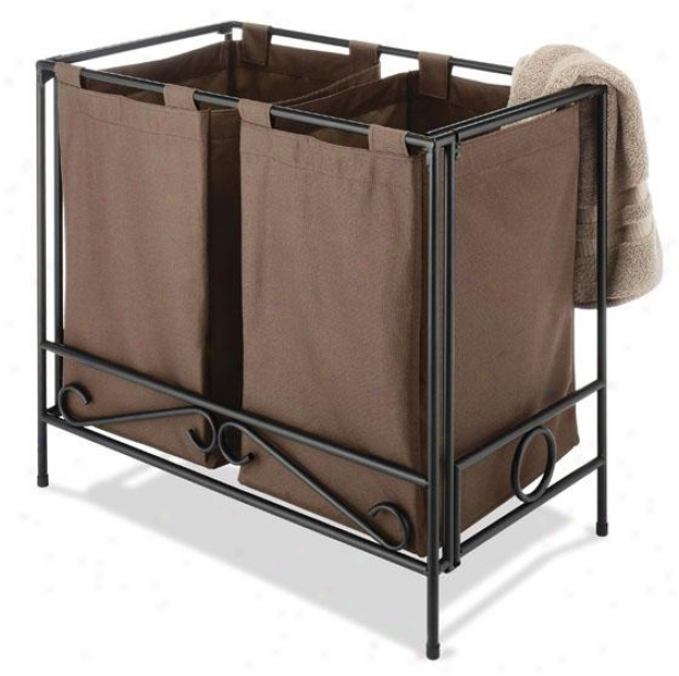 """wrought Iron Folding Double Clothes Laundry Hamper - 24""""bx27""""wx15""""d, Brown"""