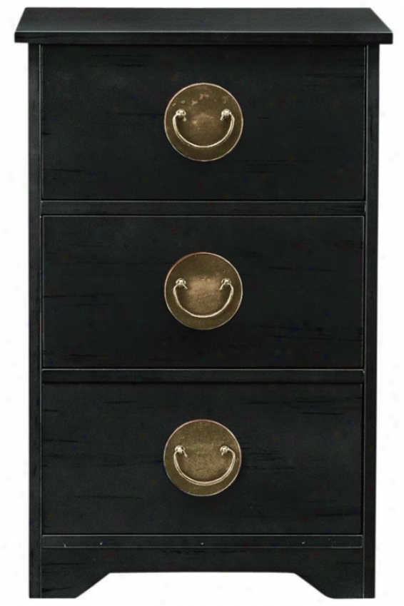 """wuchow Three-drawer Side End Table - 26""""hx17""""sq, Black"""