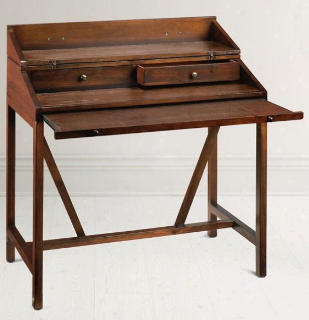 Wyatt Hideaway Desk - 2 Drawer, Coffee Brown