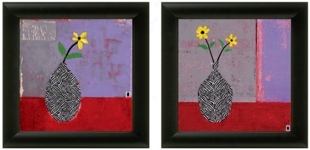 Yellow Daisy Framed Wall Art - Set Of 2 - Set Of Two, Purple