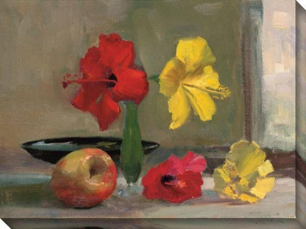 """yellow Hibiscus With Apple Canvas Wall Art - 36""""hx48""""w, Yellow"""