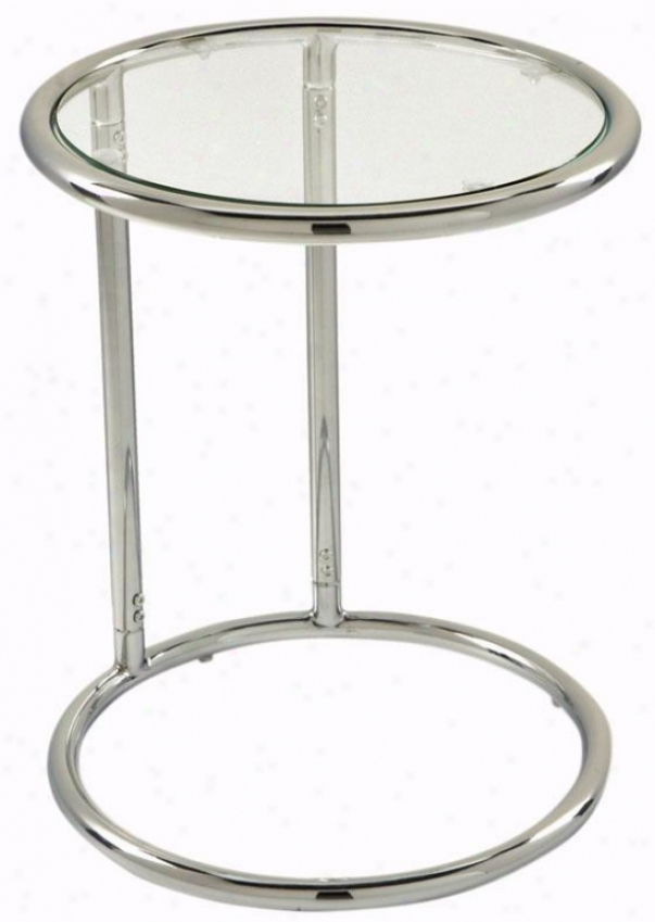 """""""yield Glass Table - 21""""""""hx17""""""""d, Silver Chrome"""""""