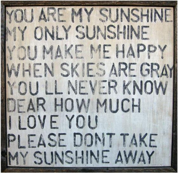 """you Are My Sunshine Wooden Sign - 26 X 26"""", Wasbed White"""