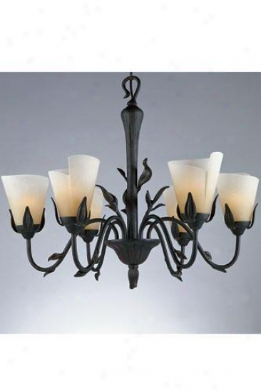 """yuma Six-light Chandelier - 24""""hx29""""d, Gold Bronze"""