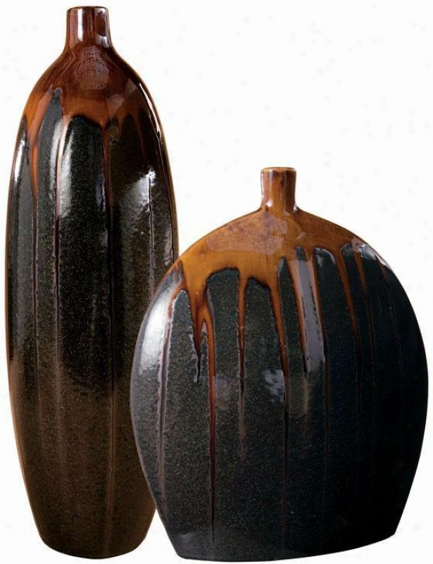 Zamoean Vases - Set Of 2 - Set, Brown