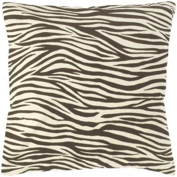 """zebra Sfriped Pillows - Set Of 2 - 18""""x18"""", Black"""