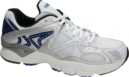 Aetrex Boss Rhnner (men's) -  White/silver/blue