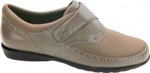 Aetrex Emma Monk Strap (women's) - Taupe Stretch Fabric/leather