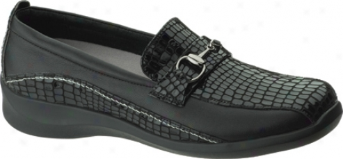 Aetrex Essrnce Ornamented Slip Forward (women's) - Black Alligatoor Textured Leather